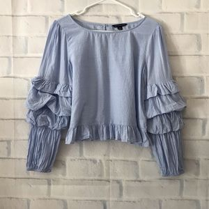 American Eagle | tiered balloon sleeve blouse